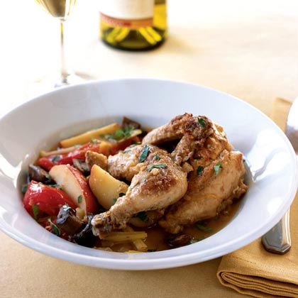 Oven-Braised Cornish Hens with Cider Vinegar and Warm Vegetable Sauce