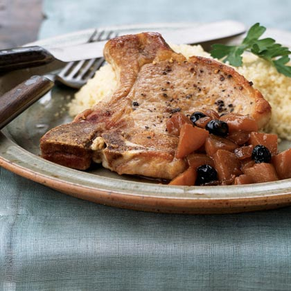 Pan-Seared Pork Chops with Molasses-Plum Sauce Recipe