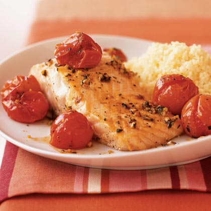 Salmon with Roasted Cherry Tomatoes Recipe | MyRecipes