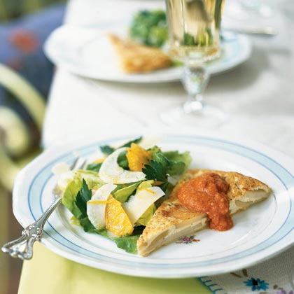 Spanish Tortilla with Almond Romesco