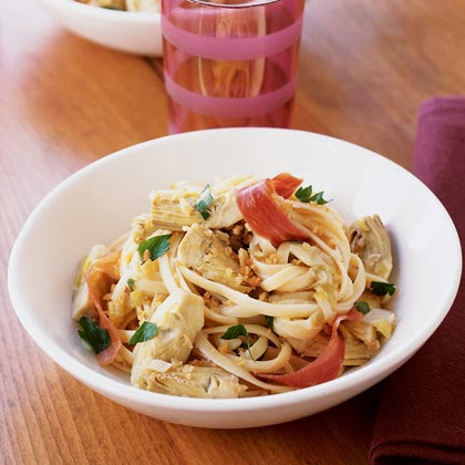 Linguine with Caramelized Artichokes and Prosciutto