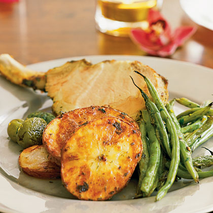 Mini Pork Rack with Roasted Potatoes and Green Beans Recipe
