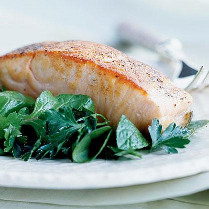 Crispy Salmon with Herb Salad