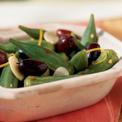 Lemon-Macerated Okra and Olives