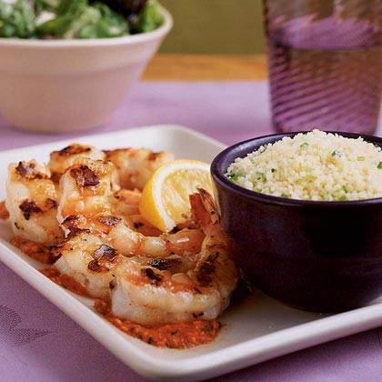 Shrimp Skewers with Romesco Sauce Recipe