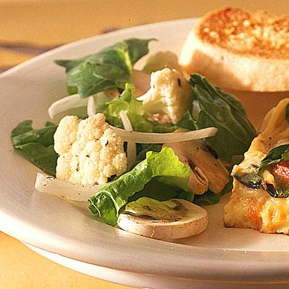 Spinach-Cauliflower Salad with Lemon-Peppercorn Dressing Recipe
