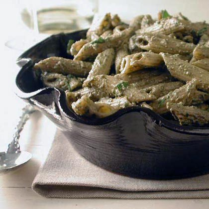 Penne in Creamy Basil-Walnut Sauce RecipeIn true Tuscan style, this lightning-quick homemade pesto sauce is thickened with breadcrumbs and milk keeping the meatless meal both light and easy. Better yet, this dish goes from kitchen to table in under 30 minutes.