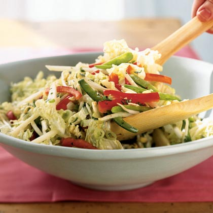 Napa Cabbage and Snow Pea Slaw