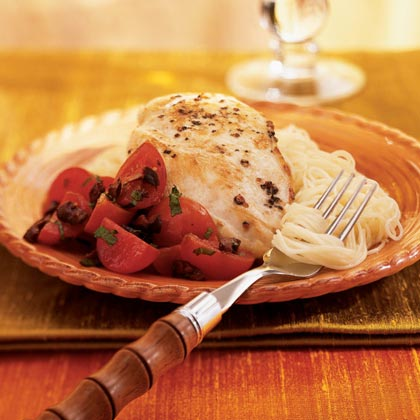 Chicken with Cherry Tomato and Olive Topping Recipe