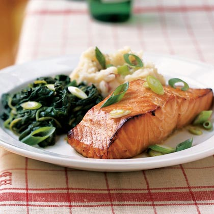 Citrus Salmon with Garlicky GreensRecipe