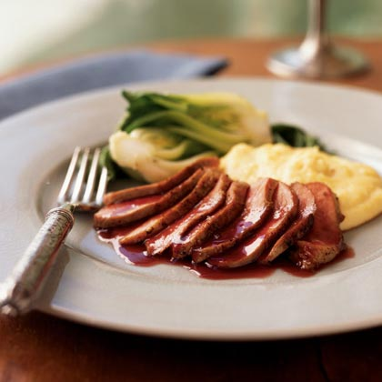 Seared Duck Breast with Ginger-Rhubarb SauceRecipe