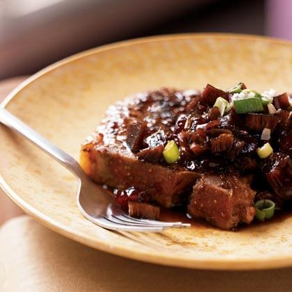 Grilled Pork Chops with Rhubarb Chutney Recipe