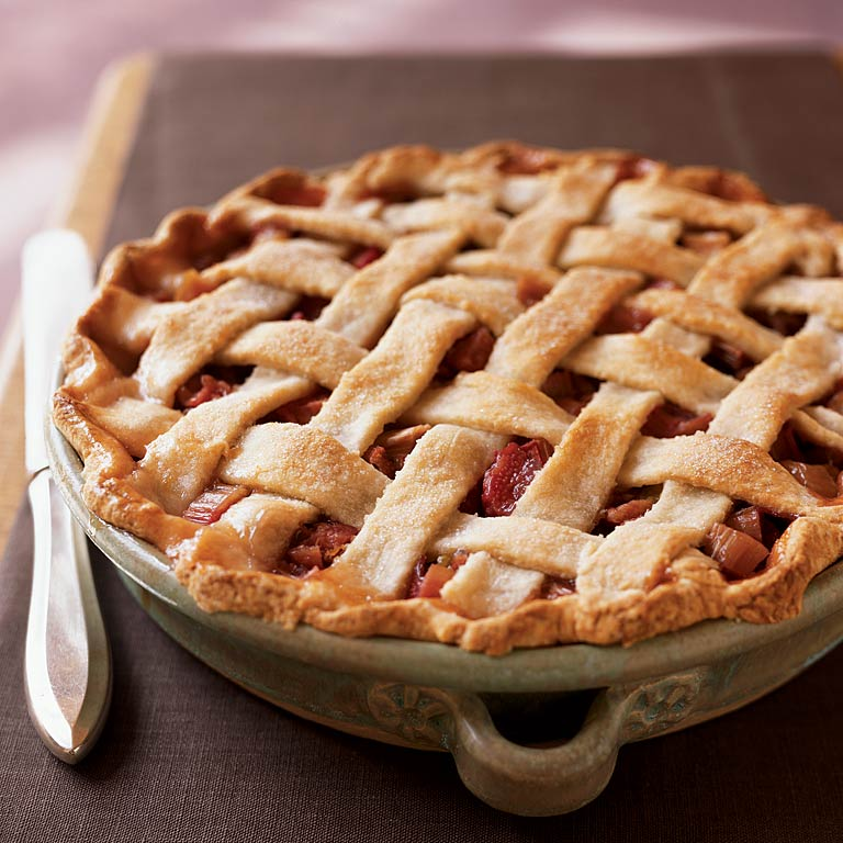 Lattice-Topped Rhubarb Pie Recipe | MyRecipes.com