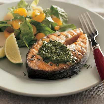 Spicy Herb Grilled Salmon Steaks Recipe Myrecipes