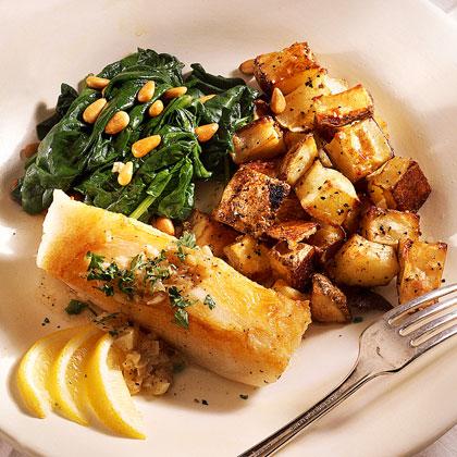 Seared Sea Bass With Garlic Sauce Recipe