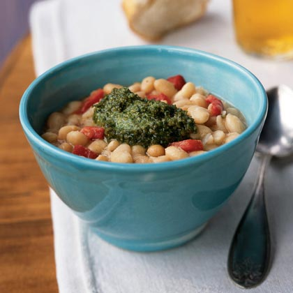 White Beans with Roasted Red Pepper and PestoRecipe