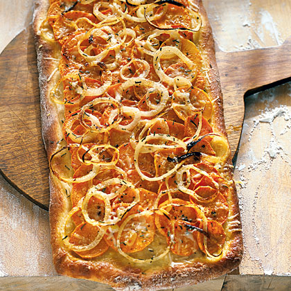 Sweet Potato Pizza with Onion and Rosemary