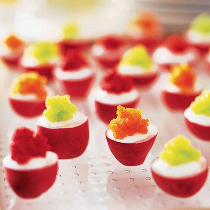Radishes with Lemon Crème Fraîche and Tobiko RecipeNotes: Jessica Gorin, chef at J Vineyards & Winery (888/594-6326) in California's Russian River Valley, serves these pretty appetizers with a 1998 J Vintage Brut. They can be made up to 2 hours ahead; cover and chill. Tobiko (flying fish roe) is available in Japanese markets and specialty food stores.