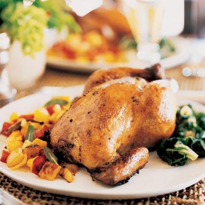 Roast Hens with Golden Vegetable Hash