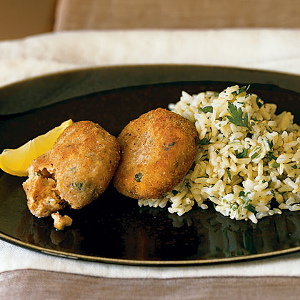 Salmon Cakes with Lemon Rice