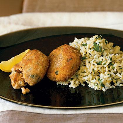 Salmon Cakes with Lemon Rice Recipe