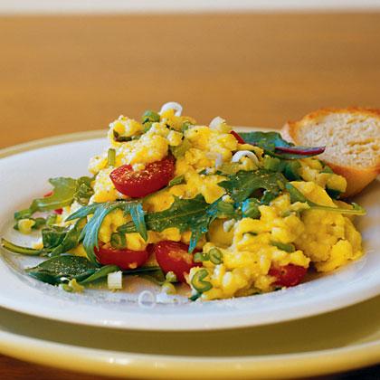 Scrambled Eggs with Asian GreensRecipe