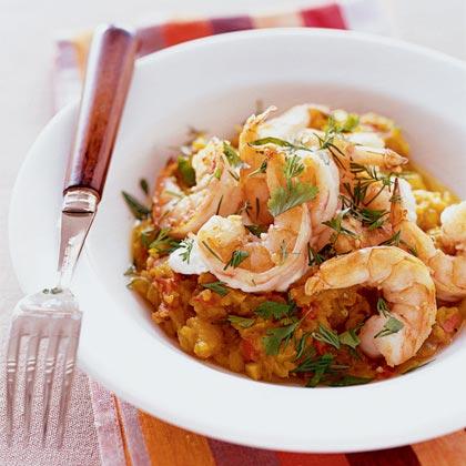 Golden Squash with Sautéed shrimp