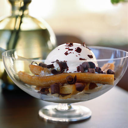 Baked Bananas with Ice Cream and Shaved Chocolate