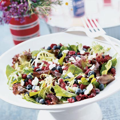 Greens with Chèvre and Berries Recipe