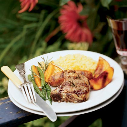 Lamb and Sausage Mixed Grill with Molasses-glazed Nectarines