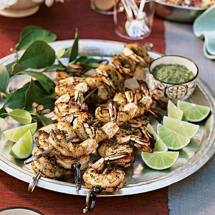 India: Tandoori Shrimp in Green Marinade