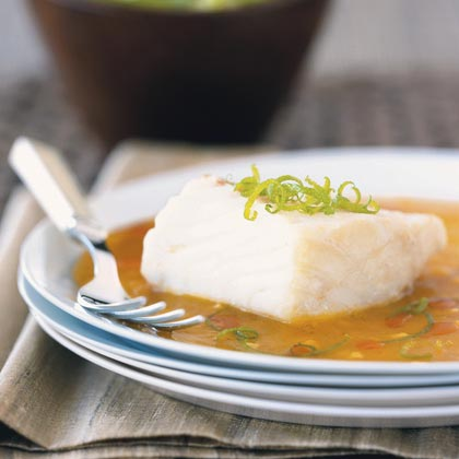 Halibut Steamed with Ginger, Orange, and Lime