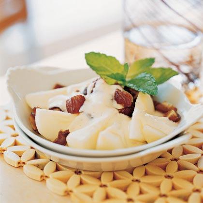 Pears and Dates with Vanilla-Orange Yogurt