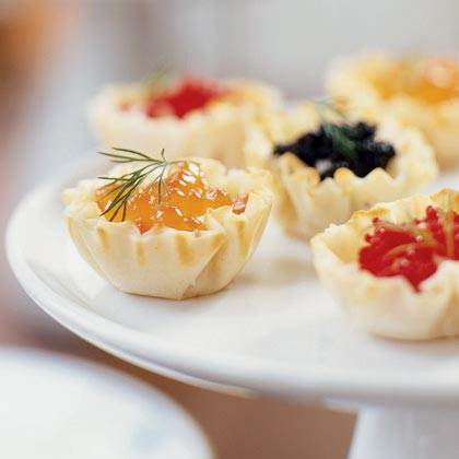 Caviar Tartlets RecipeWhen the money's rollin' in, you just can't get enough caviar. Savor a few of these tasty little phyllo pastries with a glass of the finest wine.
