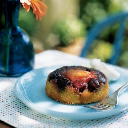 Apricot-Cherry Upside-Down Mini Cakes