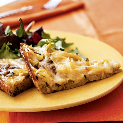 Frittata with Mushrooms, Linguine, and Basil Recipe