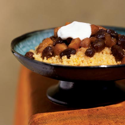 Couscous with Apple-Ginger Topping and Orange Sauce