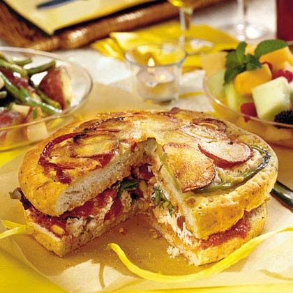 Stuffed Focaccia With Roasted Pepper Vinaigrette