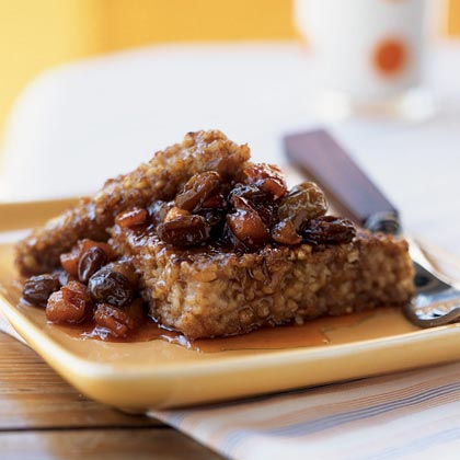 Pan-Seared Oatmeal with Warm Fruit Compote and Cider Syrup Recipe