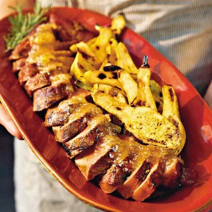 Grilled Pork Tenderloin With Gingered Jezebel Sauce