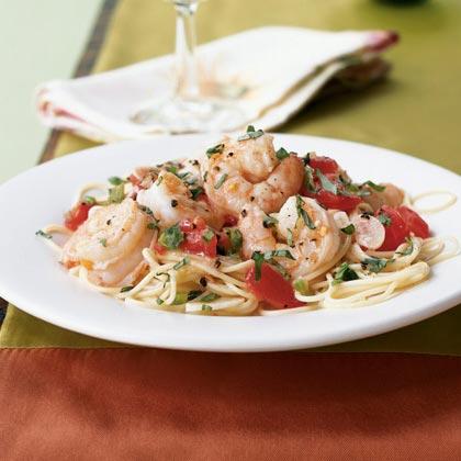 Shrimp Sautéed with Fresh Tomatoes, Wine, and Basil