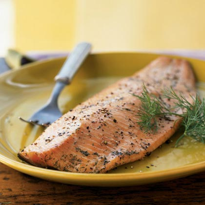 Smoked Salmon RecipeThis recipe gives you a moist smoked salmon - not the drier type (lox) that you purchase to serve on bagels with cream cheese. Start soaking the wood chips while the salmon brines.