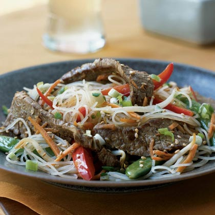 Rice Noodles with Sesame-Ginger Flank Steak