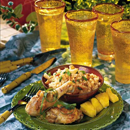 Bring the flavor of the islands to your table with this chicken dish featuring coconut milk, pineapple juice and toasted macadamia nuts.Island Chicken and Rice Recipe
