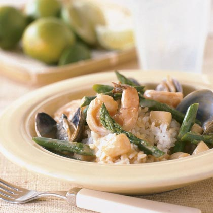 Seafood in Red Curry with Sticky RiceRecipe