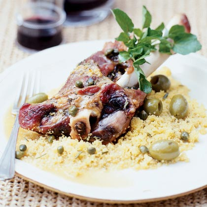 Serve a special-occasion meal that's packed with rich Mediterranean flavor. Lemon juice and zest combine with green olives and capers to give the lamb a bright flavor that complements the suggested side, Lemon Couscous.Recipe: Lamb Shanks with Olives and Capers