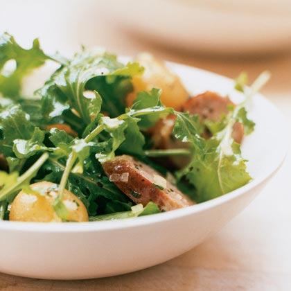 Warm Sausage and Potato Salad with Arugula