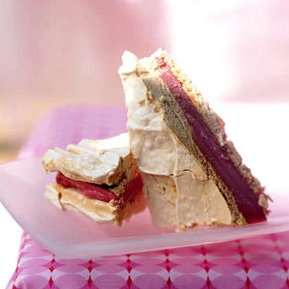This milk-free version of ice cream sandwiches features raspberry sorbet sandwiched between crisp meringue triangles. You can substitute any flavor of sorbet for raspberry.Recipe: Raspberry Sorbet and Meringue Sandwiches