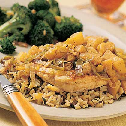 Parmesan-Crusted Chicken with Leeks and Apples Recipe