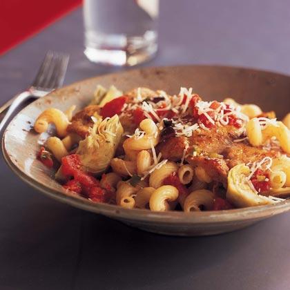 Pan-Seared Chicken with Artichokes and Pasta Recipe
